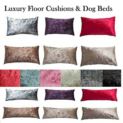CRUSHED VELVET FLOOR CUSHION COVERS ONLY OR WITH LINER DOG BED 60x80 /& 80x120