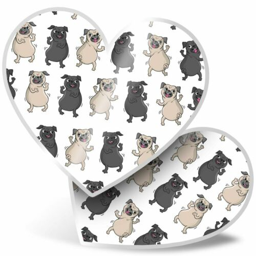 2 x Heart Stickers 7.5 cm Cute Dancing Pug Dogs Puppy  #2598