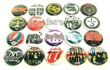 "20 1970s HARD ROCK Bands ONE Inch Buttons 1"" Pins Pinback Music Badges Set #1"