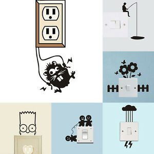 Home Decor Light Switch Art Vinyl Wall Stickers Removable Cartoon