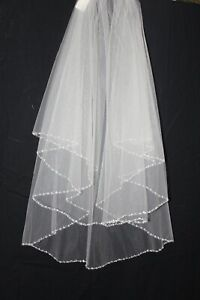 New! Light Gold double layer elbow length bridal veil, beaded edging, $275