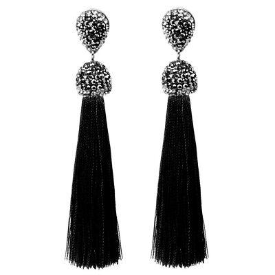 Long Silver Rhinestone Tassel Necklace Silver Tone Black Gray Clear Rhinestones 3.75 Art Deco Tassel Pendant Necklace Vintage Jewelry