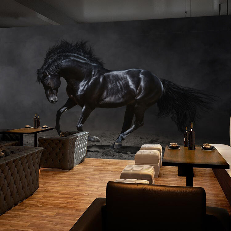 3D Dark Horse Pattern Wall Paper wall Print Decal Wall Deco Indoor wall Mural