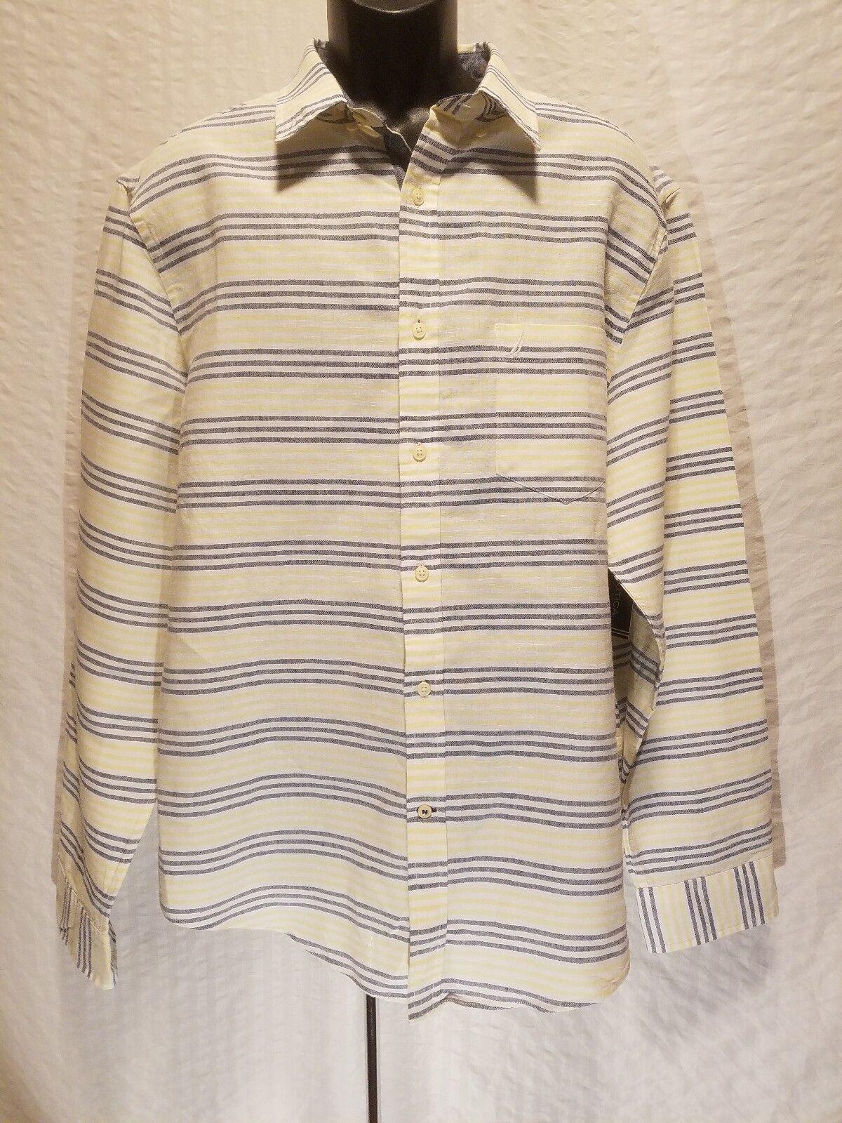 New NAUTICA Men's XL XLarge Linen Button Long Sleeve White Striped Shirt