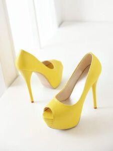 7fde935f8c26d0 Talons Aiguilles Chaussures Éscarpins Élégant Femme Plateau 13.5 ...