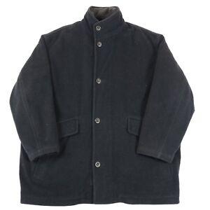 VGC-Hugo-Boss-Virgin-Wool-Coat-with-Liner-Men-039-s-XL-Vintage-Woolen-Pea-Jacket