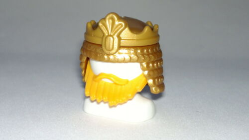 Statua Playmobil Accessori Busto Bianco con Corona e Barba Custom Re