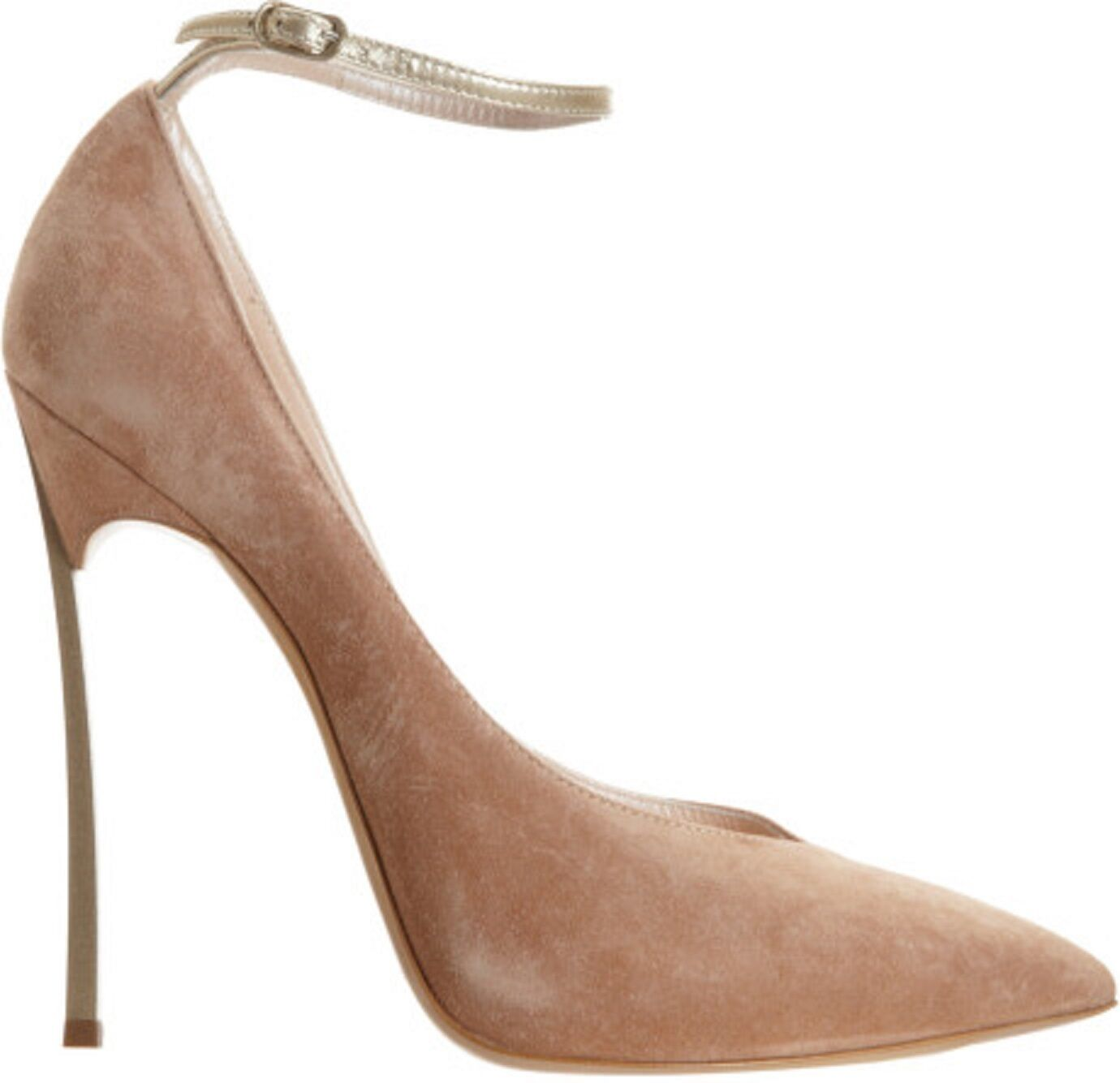 820 CASADEI 10 (9.5) Metal Blade Spike Heel Beige Tan Suede shoes Ankle Strap