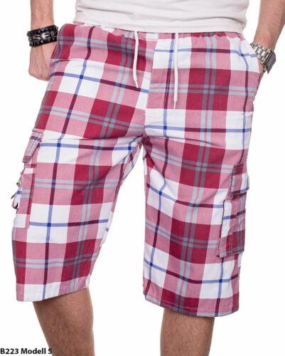 Stylische Herren Sommer Bermuda Cargo Shorts kurze Hose kariert Knielang Multi