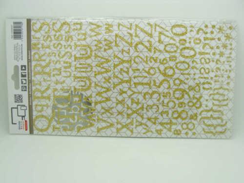 STICKERS Autocollants Alphabet 300 lettres doré or pailleté DIY Scrap Artemio