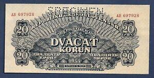 DN-Czechoslovakia-Checoslovaquia-20-Korun-1944-Specimen-P-47-SC-UNC
