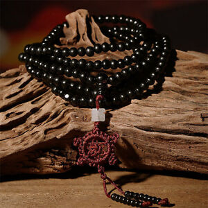 6mm Sandalwood Buddhist Buddha Meditation 216 Beads Mala Bracelet Necklace Gift