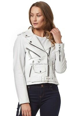 Ladies Leather Jacket White BRANDO CLASSIC Smart Fit 100/% REAL NAPA LEATHER MBF