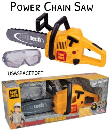 Kids CONSTRUCTION Tool POWER CHAIN SAW Goggles Set Real Working Actions+Sounds
