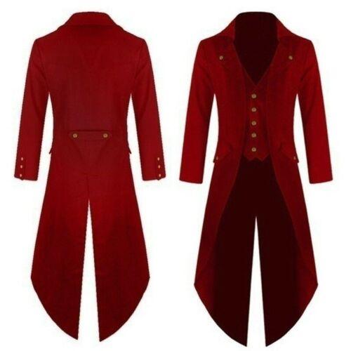 Mens Steampunk Costume Ringmaster Magician Coat Vintage Tailcoat Gothic Jacket