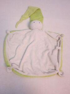"Difrax Lovey Baby Security Blanket Green White Nightcap Super Rare HTF 13"" x 10"""