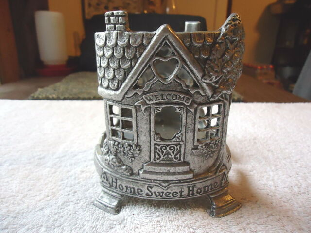 Vintage Carson Pewter Glass Candle Holder