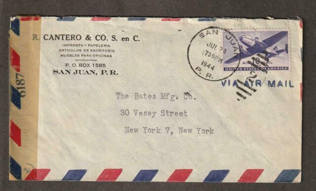 WW2  1944 Puerto Rico CENSORED Cover to US Airmail with 10 Cents Transport Plane