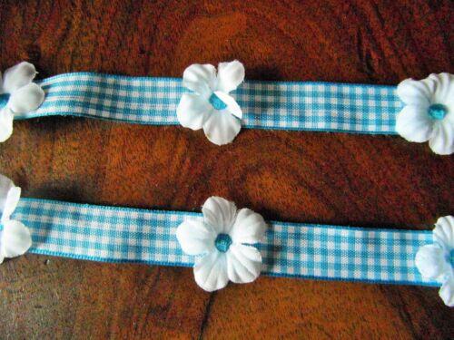 RUBAN vichy bleu fleur blanche 1mx1.5cm@RUBBON