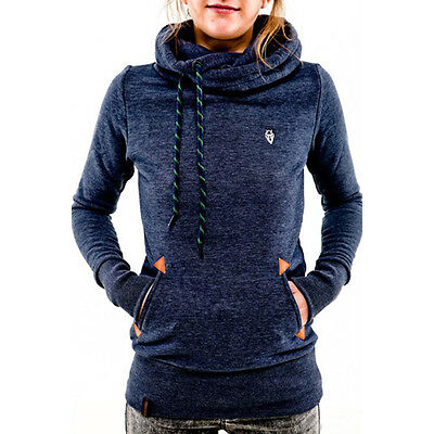 Women Drawstring Pocket Hoodie Long Sleeve Sweatshirt Pullover Jumper Coat Tops