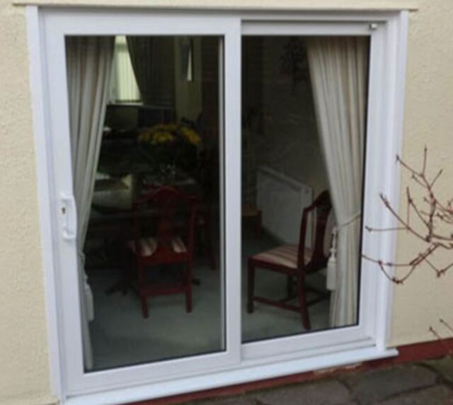 White uPVC Sliding Patio Doors / 2300mm x 2100mm / BRAND NEW