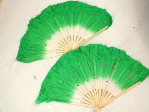 2 CHINESE XL 40cm GREEN WHITE DANCE HAND FAN W WAVY EDGE BELLY LIGHT EXERCISE S6