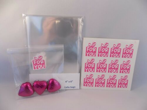 """4/"""" x 6/"""" Cello Gift bags and Sealing Sticker Labels  For You"""