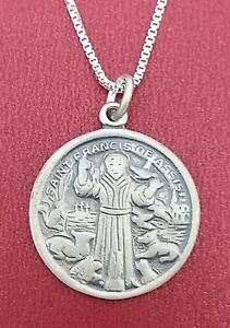 Sterling silver st francis of assisi necklace solid 925 pendant and image is loading sterling silver st francis of assisi necklace solid aloadofball Gallery