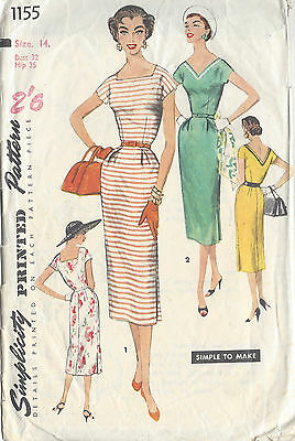 1955 Vintage Sewing Pattern DRESS B32 (1040)