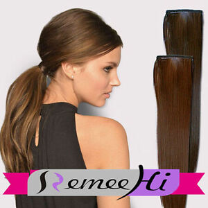 Real Human Hair Ponytail Silk Straight Clip in Hair Extensions Wrap ...