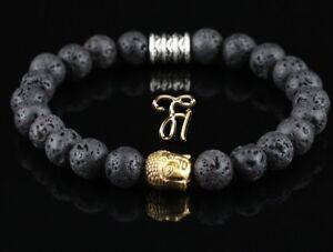 Lava-Armband-Bracelet-Perlenarmband-Buddhakopf-gold-8mm