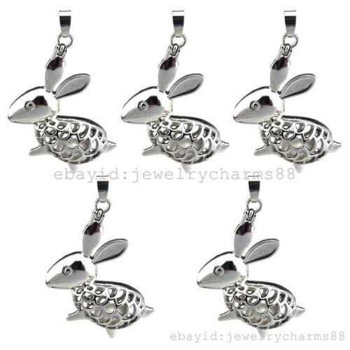 K114 5X//lot Silver Rabbit Animal Magnetic Pearl Oysters Cage Pendant Locket