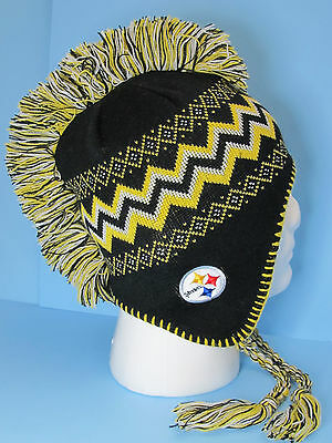 Football PITTSBURGH STEELERS MOHAWK TASSEL KNIT HAT NFL TEAM APPAREL YOUTH - NWT