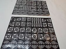 Lot of 2 Self sheets Adhesive Decal Stencils Henna temporary tattoo free ship