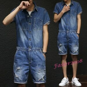 f51d240c0954 Details about Casual Men s Denim Rompers Overalls Short Bib Pants Jumpsuits  Loose Jeans Suits