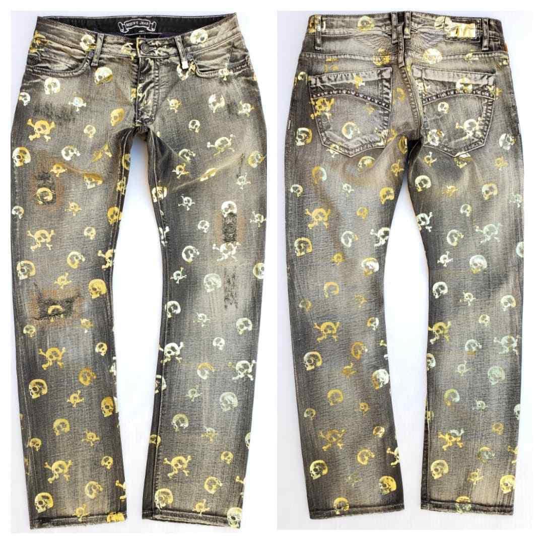 New Men's ROBIN'S JEAN sz 31 Marlon Slim Straight Studded Jeans -Skull Print