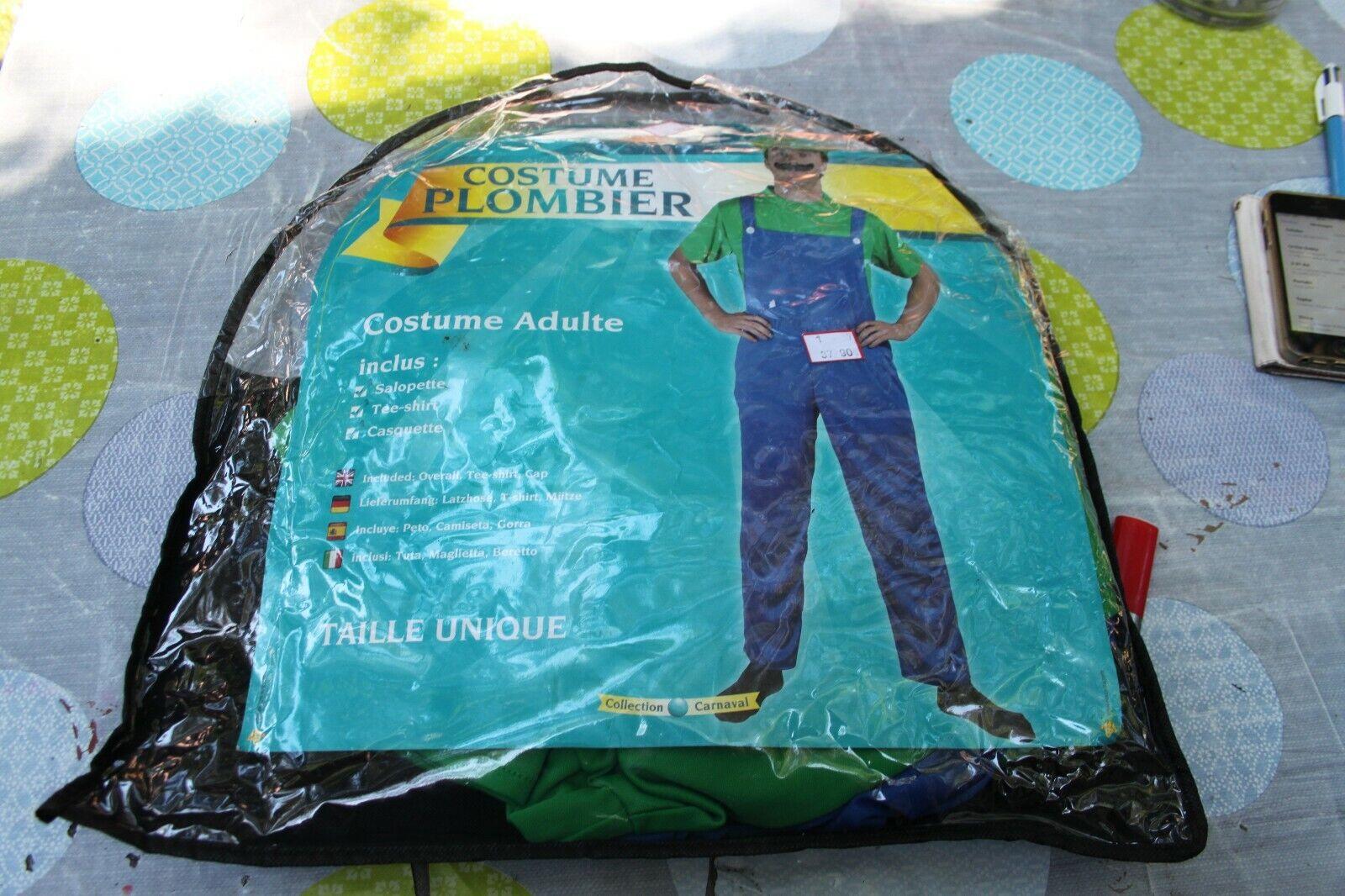 Fancy Adult Suit Plumber Dungarees + Tee Shirt + Cap