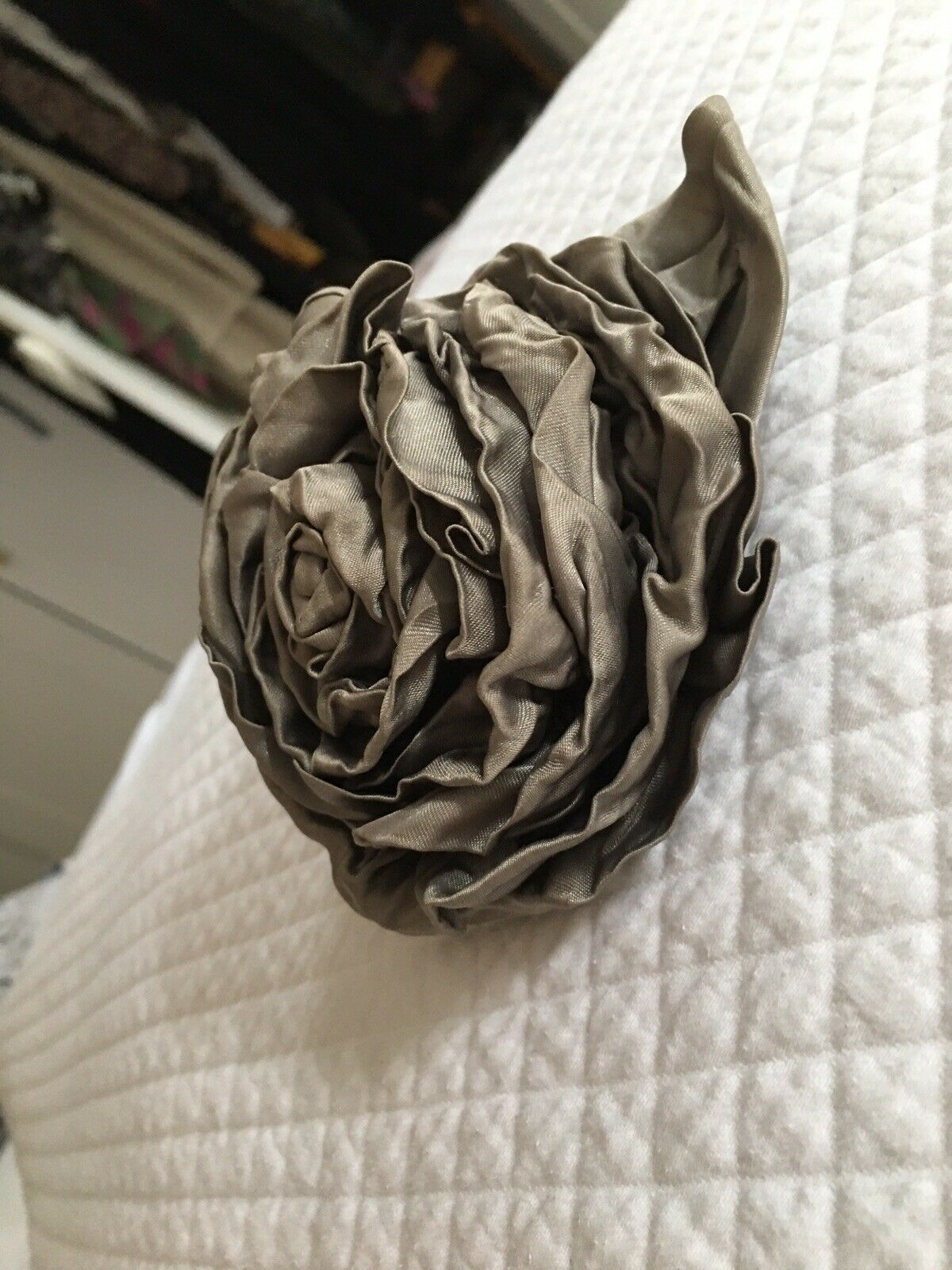 Pretty Whistles large steel grey silk rose brooch for jackets, handbags etcetera