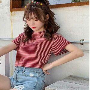 Women-Short-Sleeve-Stripe-Fashion-T-shirt-Ladies-Shirt-Top-Tight-Summer-Solid