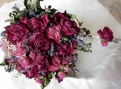 Dried Wedding Bouquet Bride, Bridesmaids Buttonholes, Dried Roses Lavender Herbs
