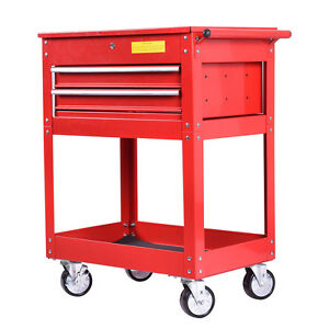 metal storage cart metal rolling tool cart 2 drawer cabinet storage toolbox 23289