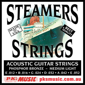 STEAMERS-MEDIUM-LIGHT-Acoustic-Guitar-Strings-MADE-in-USA-NEW-FREE-POSTAGE