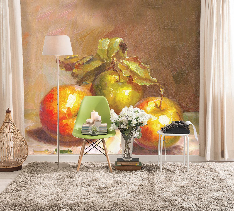 Papel Pintado Mural De Vellón Pintura Al Óleo De Apple 21 Paisaje Fondo Pansize