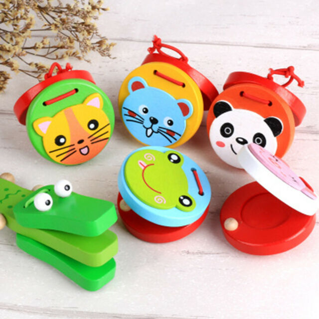 Wooden Castanet Toy Funny Cartoon Animal Design Musical Instrument Kid Gift 1Pc