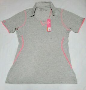 NEW-Antigua-Womens-Thrill-Desert-Dry-Golf-Polo-Shirt-Gray-Pink-Speckled-Size-M