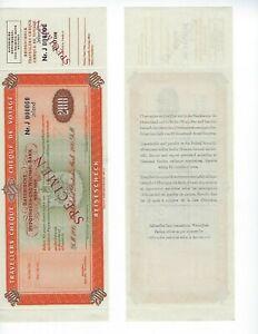 TRAVELERS-CHECK-SPECIMEN-GERMANY-200-DM-1950-039-s-HYPO-BANK-UNC