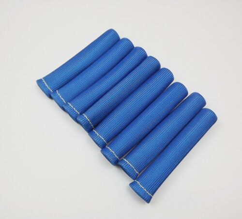 BLUE 8PCS 1200° SPARK PLUG WIRE BOOTS HEAT SHIELD PROTECTOR SLEEVE SBC BBC