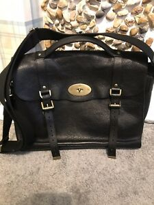 19d914cea9cd Image is loading Authentic-Mulberry-Satchel-Bag -Briefcase-Alexa-Black-Leather-
