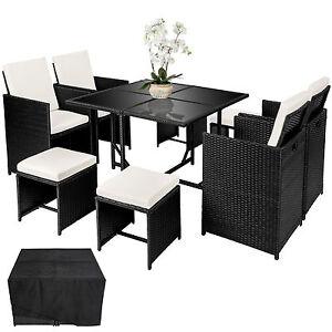 Hervorragend ... Poly Rattan Sitzgarnitur Gartenmoebel Essgruppe Cube Lounge Set