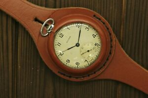 1Q1950 Military Molnija 3601 Pocket Watch +WWI Style New Leather WRISTBAND WWII